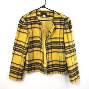 Item-Eyes  Yellow Plaid Blazer  Wool Blend Size 14